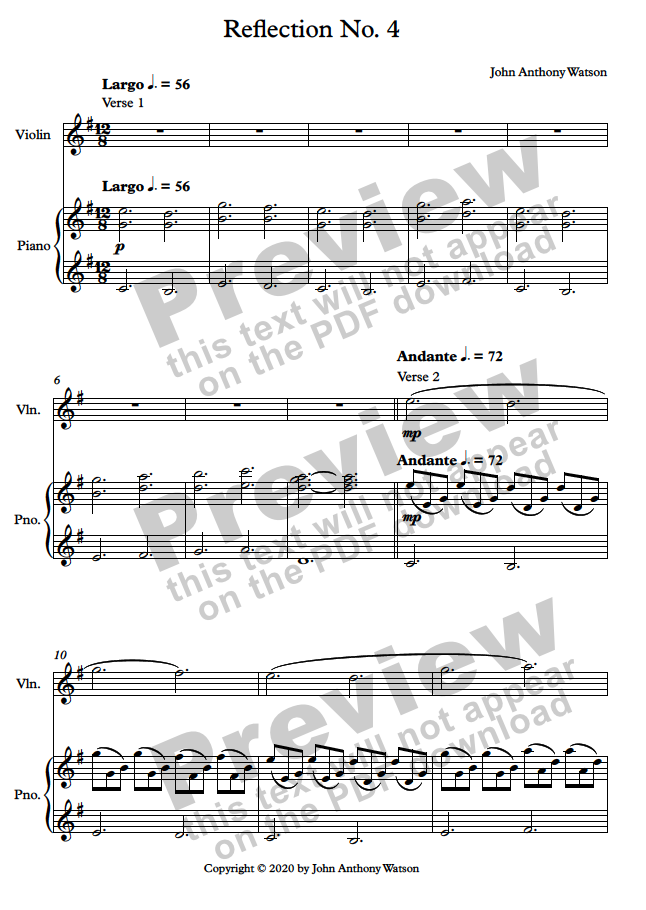 Reflection No. 4 - sheet music preview